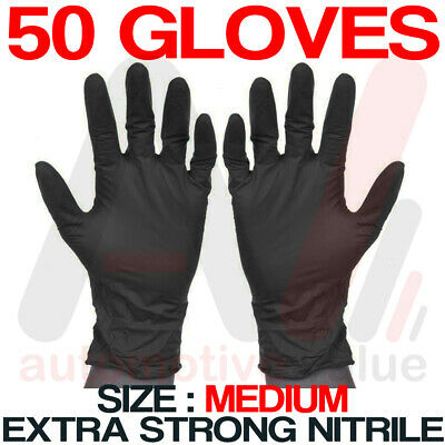 Black Nitrile Disposable Gloves - Powder & Latex Free -Cleaning Use -Medium 50pk