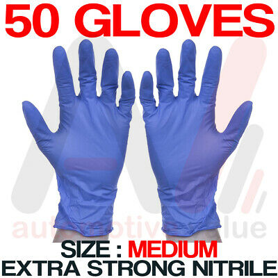 Nitrile Disposable Gloves - Powder & Latex Free - Cleaning Use - Medium 50pk