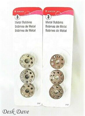 New Singer Metal Bobbins, 2 Cards of 3 Bobbins, Singer Featherweight 221~222~301