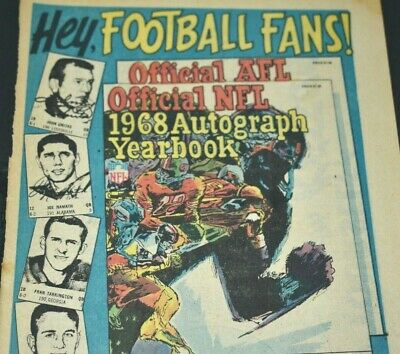 1968 Vintage Print Ad Official NFL Autograph Yearbook Football Fans TV Handbook