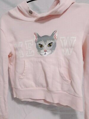 H&M Girls Age 9-10 Years Hoodie Pink Cat Animal Novelty  Print Jumper Casual