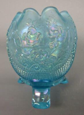 Northwood FINE CUT & ROSES / FANCY INT. ICE BLUE Carnival Glass Rose Bowl 7538