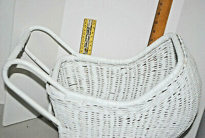 "WHITE DOLL CARRIAGE---13"" H x 16"" L x 11"" W---INSIDE IS 10"" x 8"""
