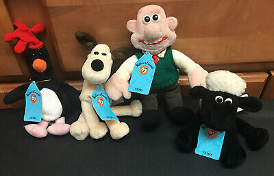 4 Lot Set Wallace & Gromit Shaun Feathers 7194 Bean Bag Plush GUND w/ TAGS 1989