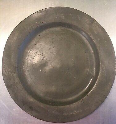 Antique Victorian London Pewter Plate 9 in diameter