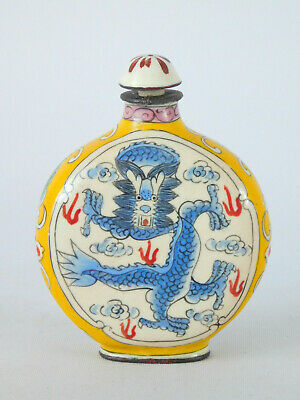 Vintage Chinese Enamel On Copper Lidded Snuff Bottle Dragon Design ~ Free Uk P&P