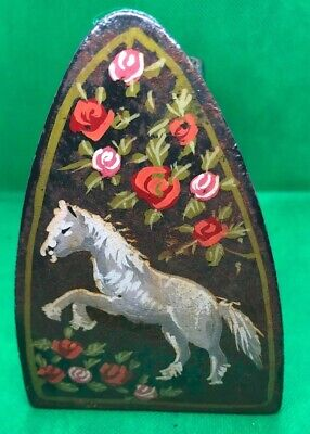 Antique Cast Painted With Horse & Flowers Iron Flat  Iron No5 J&J Siddons 1.5 Kg