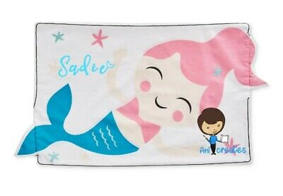 Personalised mermaid Kids Childrens large 3d shaped Pillow Case bedroom deco