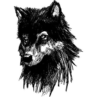 'Wolf Head' Rubber Stamp (RS010356)