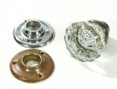 "Antique Clear Cut Glass Door Knob 2"" Rosette Brass Fitting & Escutcheon"