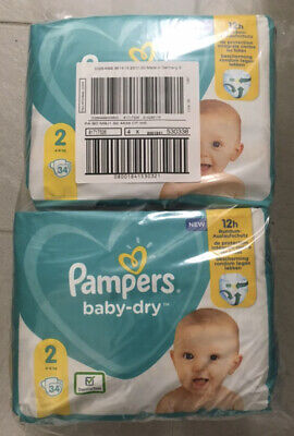 136 COUCHES PAMPERS BABY DRY Taille 2 (4 - 8 kg) NEUF