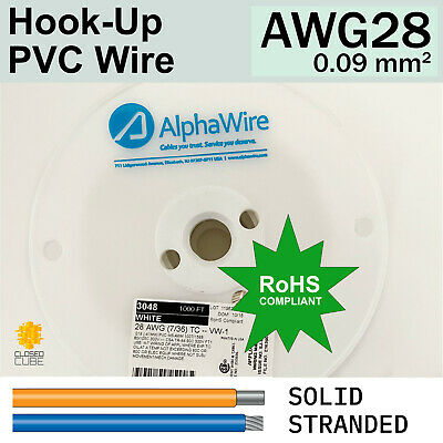 AlphaWire AWG 28 (0.09mm2) Hook Up PVC Wire 300V Tinned Copper Conductor RoHS