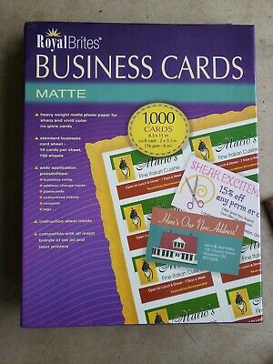 Royal Brites Matte Business Cards - White, 2 x 3.5 inches - Pack of 1000 (28992)