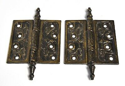2 Vintage Eastlake Style Steeple Hinges 4 X4 X2 Architectural Salvage