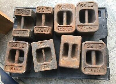 Collection Of 8 Vintage 56lb Weights Avery Pooley Etc