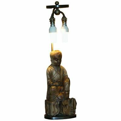Very Rare Circa 1780-1800 Chinese Rootwood Carved Statue Of Buddha Table Lamp