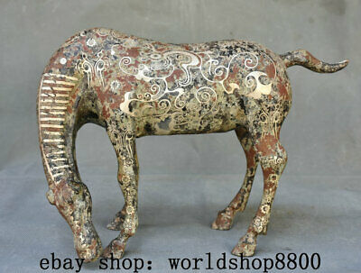 """12.4""""Old Chinese Bronze Ware Silver Dynasty Feng Shui Zodiac Horse Horses Statue"""