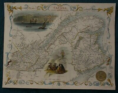 Tallis Map of East Canada and New Brunswick hand coloured published 1851
