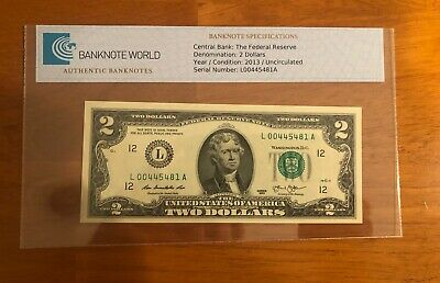 United States (USA) 2 Dollar 2013> UNC with Banknote World