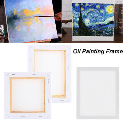 Blank Artist Canvas Art Board Plain Painting Stretched Framed White Large Small~