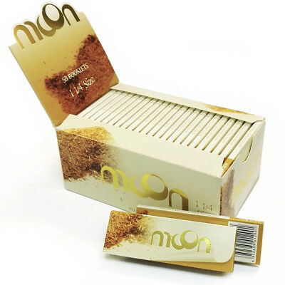 50 booklets 1 1/4 Moon Unbleached Cigarette Tobacco Rolling Papers 2000 leaves