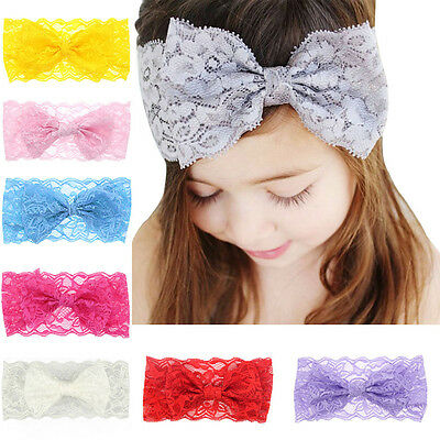 Kids Girls Hair Band Headband Lace Elastic Baby Headdress Bow Headwear Newborn