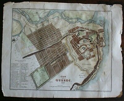 Antique Map of the City Of Quebec, Canada hand coloured published 1830