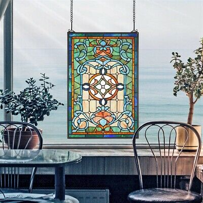"24.5"" Fine Beaux Art of Paris Tiffany Style Stained Glass Window Panel"