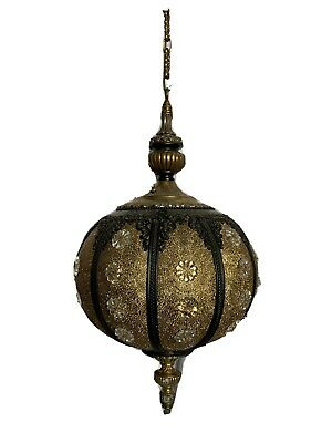 Vintage Ornate 70's Ceiling Or Hanging Lamp With Chain