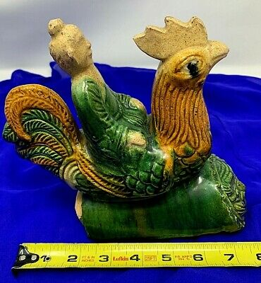 """Antique Chinese Qing Dynasty Sancai glaze """"Immortal' on Rooster EndCap ROOF TILE"""