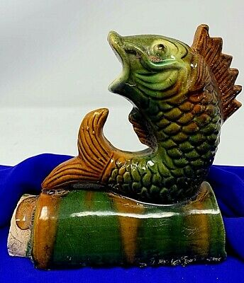 Antique Chinese Qing Dynasty Sancai glaze KOI FISH Clay ROOF TILE Feng-Shui
