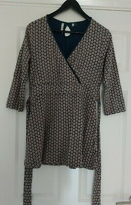 Seasalt ladies tunic top size 10 charcoal Wild Leaves Border Coal Trevilley