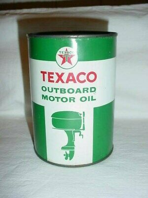 SCARCE 1950's Vintage TEXACO OUTBOARD MOTOR OIL **ROUND CAN** NEVER OPENED