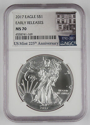 2017 $1 American Silver Eagle 1 oz NGC MS 70 EARLY RELEASES Blue Label MS70
