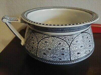 Antique Blue And White Indian Ornament Chamber Pot
