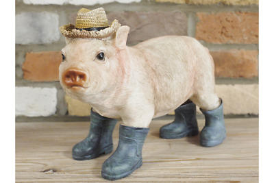 Pig in Wellies Animal Resin Ornament Farm Home or Garden Sculpture 22cm
