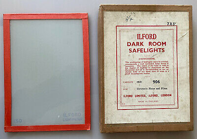 Vintage Ilford Darkroom Safelight Filter ISO 906 (RED) Size 7x5 Inch BOXED VGC