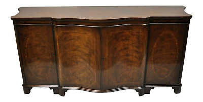 Baker Antique Flame Mahogany Inlaid Serpentine Sideboard Buffet Credenza Cabinet