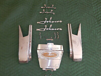 1957 Johnson Javelin 35 HP Outboard Motor Engine Cover Chrome Trim Emblems