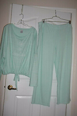 New Secret Treasures Womens Plus Green 2 Pc Pj's/Lounge Set 'Life Is Beautiful'