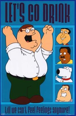 FAMILY GUY LETS GO DRINK Original Published Poster 23 x 35 inch