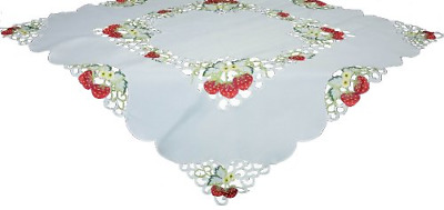 15 by 70 Xia Home Fashions XD110737 Country Egg Embroidered Cutwork Easter Table Runner