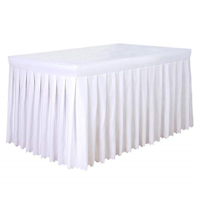 Tina 6' ft Polyester Fitted Tablecloth Table Skirt for Wedding Banquet Trade