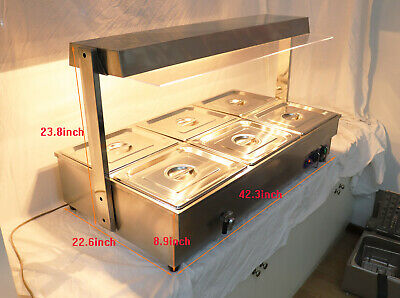 110V 6-Well Food Warmer Countertop Steam Table with Light (6*1/2pans) New