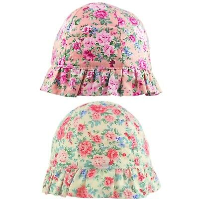 Girls Floral Flowers /& Butterfly Bucket Style Summer Sun Beach Hat Summer Hat Size 4-6 and 7-10 Years
