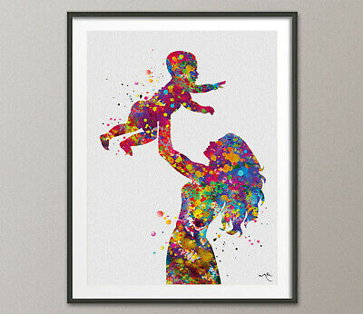 Mother Holding Baby Watercolor Print Mother and Baby Art Family Parent Love-1244