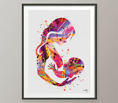 Mother and Daughter Breastfeeding Watercolor Print Mother and Baby Mother Day-75