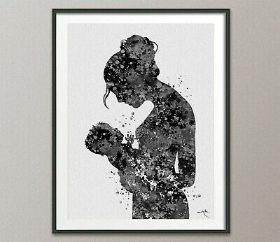 Mother and Baby Watercolor Print Mother and Daughter Mother and Son Mother-827