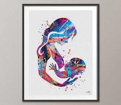 Mother and Baby Breastfeeding Watercolor Print Mother and Mother Day Nursery-74