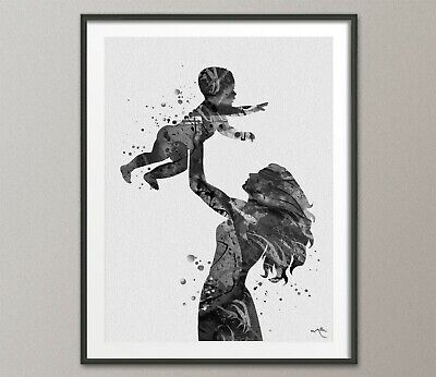 Mother Holding Baby Art BW Watercolor Print Parent Love Family New Mum Gift-1361
